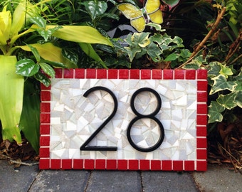Mosaic Address Sign, Red and Gray, House Number Plaque