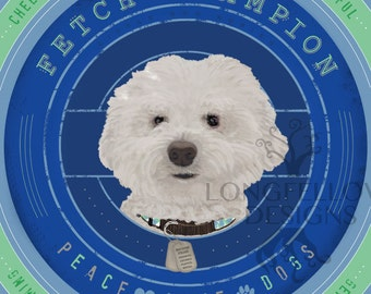 Bichon Frisé - Fetch Champion - Little Dog Series - Peace Love Dogs - Square Print