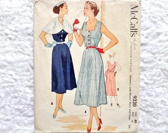 Vintage McCall's Dress and Cape Pattern 9330   Bust 40 1953