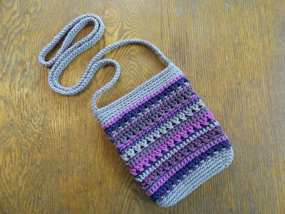Crochet Crossbody Mini Bag Summer Stripes Gray Purple Pink Iphone ...