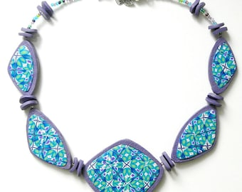 Polymer Clay Necklace Blue Green and Lilac Unusual OOAK Statement Necklace Handmade Jewellery UK Art Jewellery