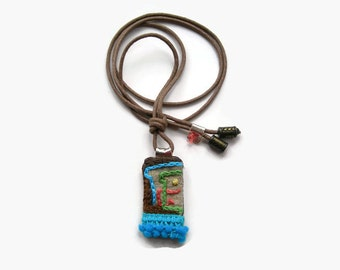 Talisman Textile Necklace. Hand Embroidered Bohemian Necklace. Turquoise. Metallic Gold.Turquoise Fringe