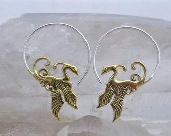Phoenix Hoop Earrings - Brass and Sterling Silver