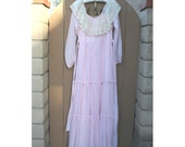 Long sleeve pink Vintage Gunne Sax Maxi dress 1970's size 11/12
