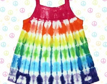 Infant sleeveless dress with rainbow stripes
