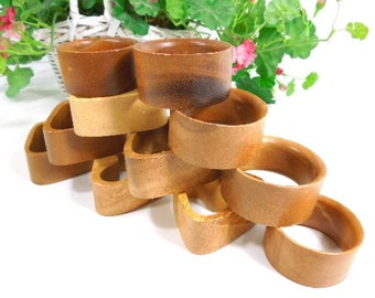 Wood Napkin Rings, Natural Wood Round and Triangle Napkin Holders, Set of 11, vintage napkin rings, tableware home decor woman housewares