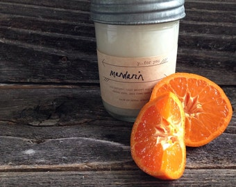 Mandarin Scented Soy Container Candle Citrus Mason Jar Soy Candle White Wedding Candle