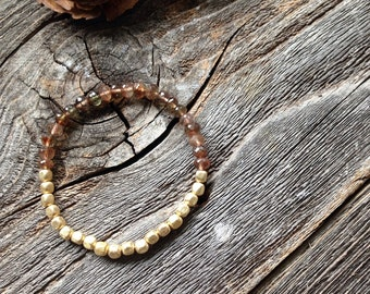 Andalusite Beaded Bracelet Brown and Gold Gemstone Bracelet AAA Quality Andalusite Friendship Bracelet