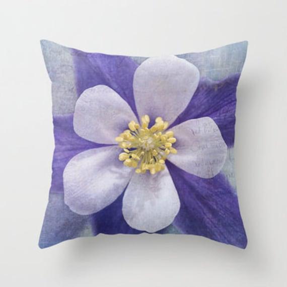 Columbine Decorative Throw Pillow, Pillow Covers, Throw Pillows, Floral, Photography, Garden, Flower, Outdoor Pillows, Housewarming Gift
