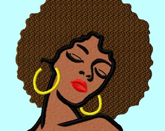 Woman with Afro Filled Embroidery Designs 3 sizes INSTANT DOWNLOAD