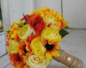 Silk bridal bouquet, sunflowers, yellow roses, orange roses