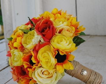 Silk bridal bouquet, sunflowers, yellow roses, orange roses