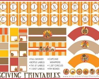 Thanksgiving Party Printable PDF  - Printable Party Supplies - Turkey DIY Party