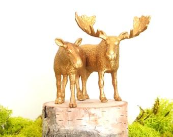 Wedding Cake Topper - Gold Moose Wedding Cake Topper - Bride Groom Figurine - Rustic Country Woodland Animal Wedding Cake Topper