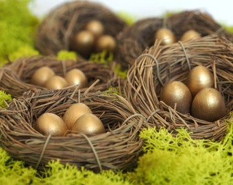 Gold Nest Wedding Decorations, Golden Table Setting, Baby Shower, Woodland Natural Eco Friendly Rustic