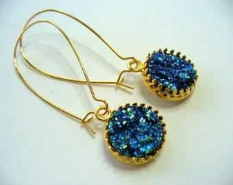 Beautiful Blue Druzy Crown Dangle Earrings, Graduation Earrings, Gold Plated, Druzy Earrings, Crown Earrings, Womens Jewelry, Earrings