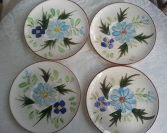 Lovely Set of Southern Potteries Tea Plates Aqua Blue Flowers