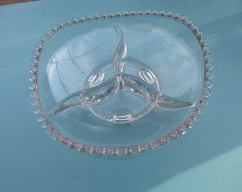 Imperial Glass Candlewick 3 Part Footed Bowl Scalloped Edges, Mint Condition