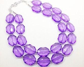 Lilac Chunky Statement Necklace - Acrylic Beaded Jewelry