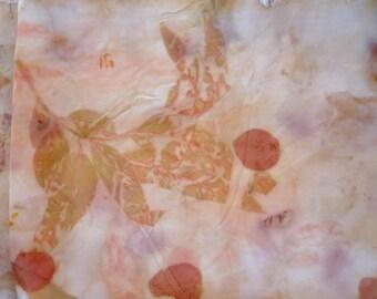 Large piece silk habotai 10 m/m. Eco floral print. Sewing supplies. Silk for a dress. Designer printed silk. Botanical printing, pure silk
