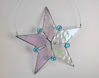 Stained Glass Aqua Blue with Iridescent Snowflake Star Stained Glass Holiday Christmas Decor