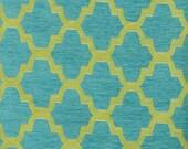 Turquoise Geometric Upholstery Fabric - Apple Green Woven Trellis Fabric - Geometric Upholstered Bench Fabric - Modern Trellis Pillows