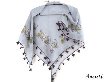 Women's accessories-women's shawl-floral scarf-cotton scarf-gift for woman-turkish crochet lace-traditional scarf -turkish oya-gray scarf