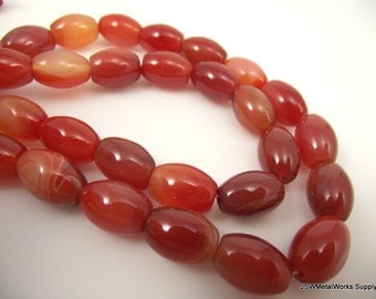 Striped Red Agate Beads, Oval Beads, 13 x 9 mm - 15 x 11 mm