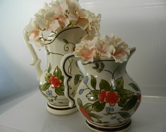 Vintage Wall Pockets Set/2 Porcelain Pitcher Wall Pockets, Planters, Kitchen Decor
