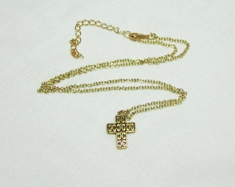 Antiqued Gold Cutout Cross Necklace Pendant on Gold Plated Chain