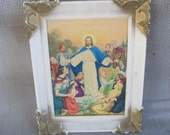 Vintage Jesus Picture, Healing The People with plastic frame
