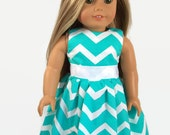 "18 Inch Doll Clothes - Trendy, Turquoise and White Chevron Dress - Made to Fit 18"" Dolls Like American Girl Dolls Clothes"