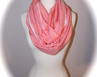 coral infinity lace scarf