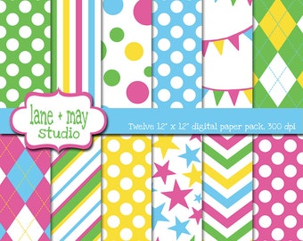 Easter colors - digital papers - green, blue, yellow and pink argyle, polka dot, stripe, bunting and star patterns - INSTANT DOWNLOAD