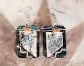 Organic, earth-toned, metal and Birch bark dangle earrings