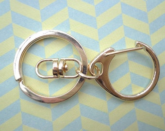 20pcs Gold Key Chain Rings With Swivel Clasp