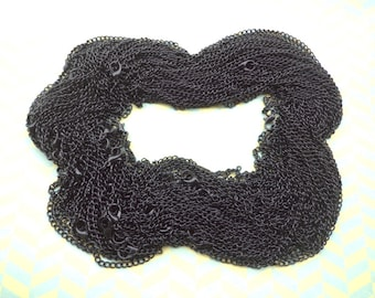 Sale-- 50pcs 65cm  Black chain With lobster clasp 3X4mm