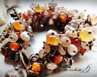 Carnelian Bracelet, Gemstone Cluster Bracelet, Rhodonite Bracelet, Smoky Quartz Bracelet, Mix Cluster Bracelet