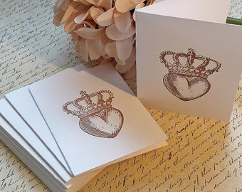 Vintage Heart - Mini Note Cards - Thank You Cards - Set of 12