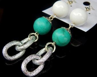 White Jade and Turquoise Earrings, Gemstone earrings, Long Earrings