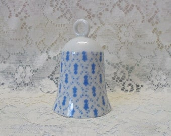 Holly Hobbie Porcelain Bell Petite Blue and White Pattern 1980's Collectible