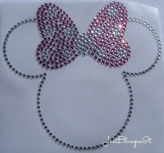 Rhinestone Transfer Minnie with Bow Iron On Bling Applique MADE IN USA