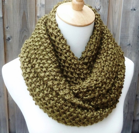 Infinity Scarf Knitting Pattern Super Bulky : Olive Infinity Scarf Green Infinity Scarf Bulky by ...
