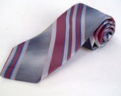 Vintage 1980s Pink Navy Blue Striped Polyester Tie by Adams Row
