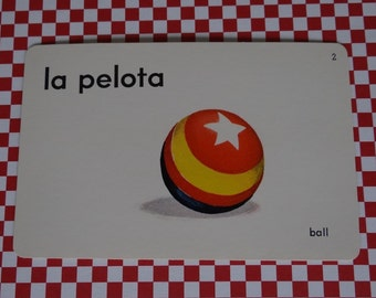 "Vintage 1962 ""Ball"" Picture & Word Flash Card, Choice of English (ball), French (la balle) or Spanish (la pelota), Whitman Publ, Racine, WI"