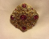 Joan Rivers Vintage Pink and Clear Crystal Brooch / Pin