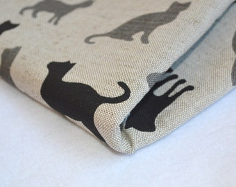 Linen black grey cats  fabric 19,68 x 59 inch