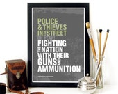 Police and Thieves Poster music art typography print The Clash poster typography poster art print Music Poster Music art print The Clash art
