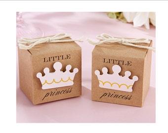 Little Prince Kraft Paper Favor box - baby shower favor - set of 12 favor boxes