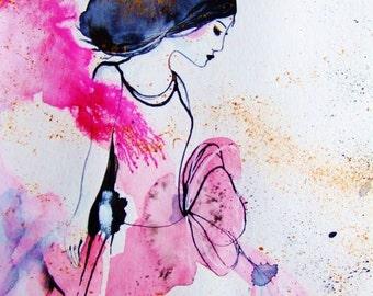 Woman Painting Dancer Watercolor Romantic Decor Pink Gold Grey Danceur Wall Art Woman Fine Art Face Home Decor Art Woman Watercolor Original